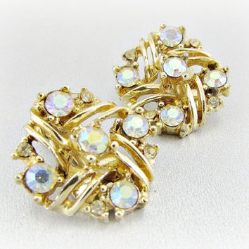 Vintage Crystal Earrings, Aurora Borealis Rhinestone Earring, Gold Clip-on Earrings, 1950s 1960s Mad Men Costume Jewelry
