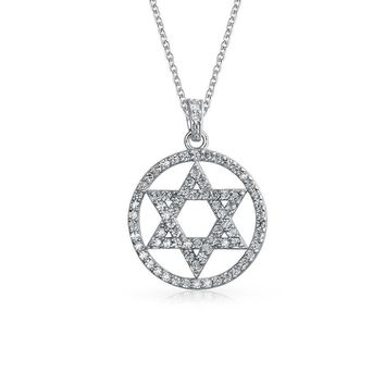 Circle Star David Magen Je Pendant Pave CZ Necklace Sterling Silver