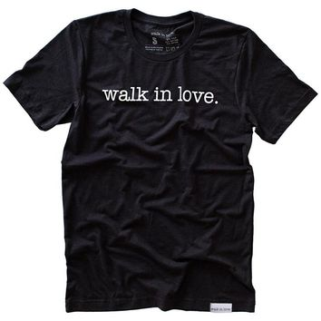 walk in love. Black Heather T-Shirt