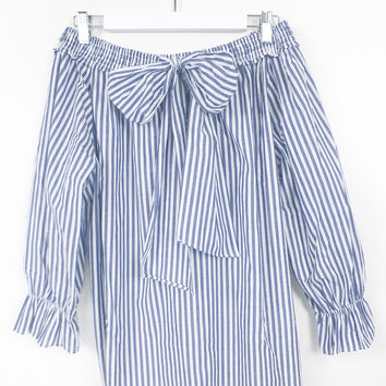 Nixa Stripe Off Shoulder Blouse