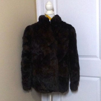 Vintage 1970s Somerset Furs Rabbit Black & Brown Short Coat with Quilted Lining - Los Angeles, Made in Hong Kong