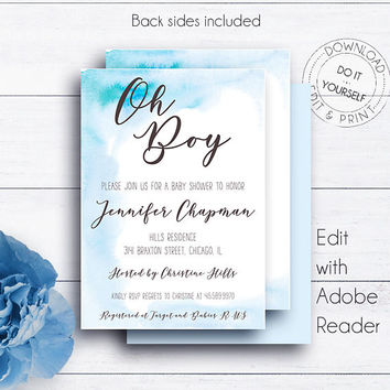 Blue Watercolor Shower Invite, Baby Shower, Printable Invite, Baby, Baby Boy, Editable, Watercolour, PDF Templates, DIY Shower Template