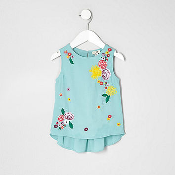 Mini girls green floral peplum top - baby girls tops - mini girls - girls
