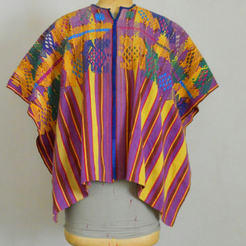 Huipil Vintage 60s Guatemalan / Mexican / Mayan Traditional Dress Hand Embroidered Hippie Bohemian Peasant Woven Textile Purple Pink Yellow