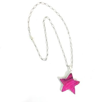 Pink Natural Drusy Star Pendant on Silver Plated Chain