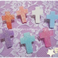CHOOSE ONE COLOUR Cross or Inverted Cross Cult Party Kei, Dolly Kei, or Fairy Kei Glittering Resin Adjustable Ring