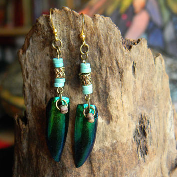 Tribal Beetle Wing Earrings