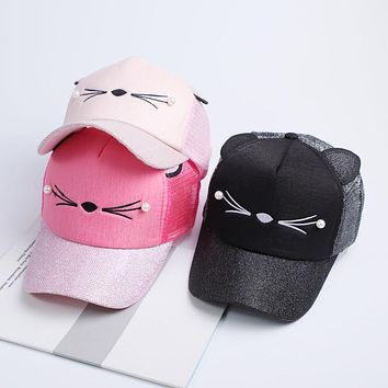 New Women Cat Baseball Cap With Cute Cat Ears Curved Brim Snapback Hat Cat Face Pearl Cotton Caps Summer Mesh Hats