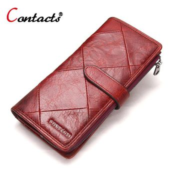 CONTACT'S Women Wallet Female Clutch Patchwork Genuine Leather Wallet Coin Purse Credit Card Holder Women Wallets And Purses Red