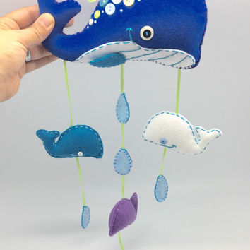 Blue Whale mobile, under the sea nursery decor, wall decor for kids in blue hues.