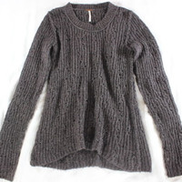 "~~~ SOOO DARN CUTE! ~~~ FREE PEOPLE BROWN ""OPEN-KNIT"" RIBBED SWEATER ~ S/P"