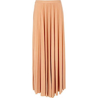 Light peach pleated maxi skirt
