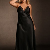 Lace Trim Long Satin Gown
