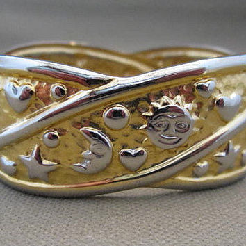 Mixed Metals Gold Silver Celestial Cuff Bangle Bracelet