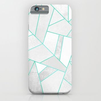 White Stone with Turquoise Lines iPhone & iPod Case by Elisabeth Fredriksson