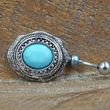 Southwestern Turquoise Belly Button Ring