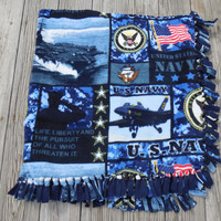 Military US Navy NEW Digital Print Custom Made Fleece Blanket Throw, 50 x 51