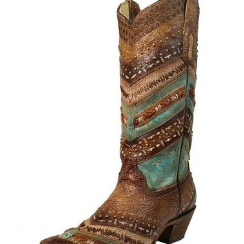 CORRAL Women's and Turquoise Embroidery Studs Cowgirl Boot Narrow Square Toe - A3381