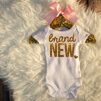 Brand New Bodysuit Baby Girl Newborn Shirt New Baby Shirt Birth Announcement New Baby Coming Home Outfit Baby Shower Gift #26