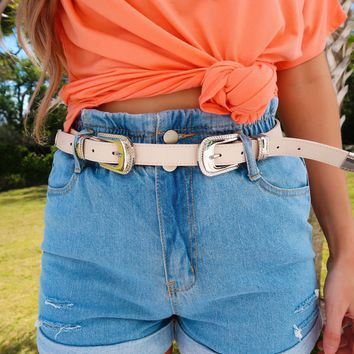 Double The Fun Belt: Nude/Silver