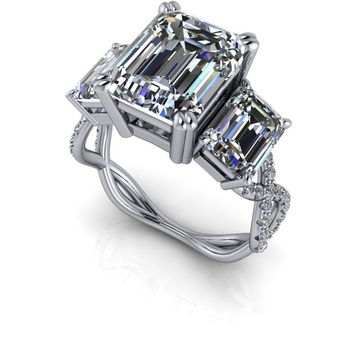 Emerald Cut Three Stone Engagement Ring Celestial Premier Moissanite  - Customize Your Engagement