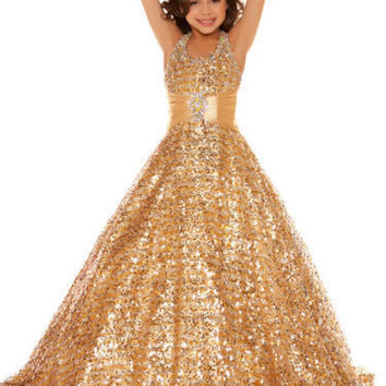 Girls Pageant Dresses 2017 Ball Gown Halter Squins Beaded Gold Sparkle Cute Little Flower Girl Dresses For Wedding