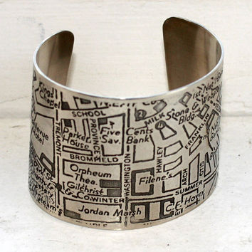 Boston Map Etched Cuff Bracelet