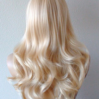 Blonde wig. Long curly blonde wig. Lolita blonde wig. Heat resistant durable synthetic wig for cosplay or daily use.