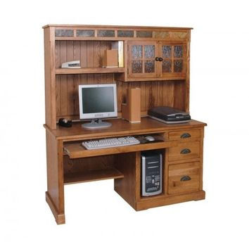 Sedona collection distressed rustic oak finish wood computer desk and hutch