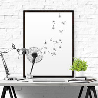 Dandelion Ilustration Print Modern Abstract Wall Art Printable Poster Black & White Nordic Scandinavian Minimalist Decor INSTANT DOWNLOAD