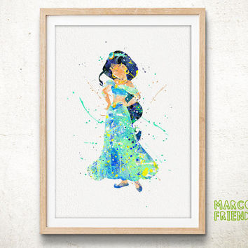 Princess Jasmine, Aladdin - Watercolor, Art Print, Home Decor, Wall Art, Gift Idea, Nursery Art, Girl's Room, Disney Poster