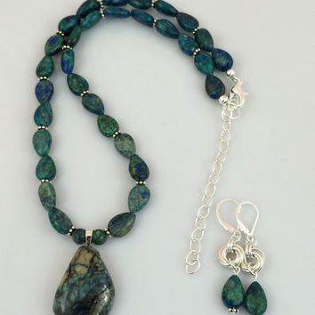 Multi-Colored Chrysocolla Pendant Necklace on Beaded Strand of Chrysocolla and Silver Beads -- Product N090