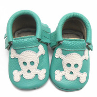 Baby Moccasins Tassel Punk Skull Printed Cow Leather Baby Boy Shoes Girl Newborn Baby First Walkers Free Shipping