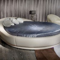 Streamlined Round Trip Italian Designer Leather Bed