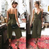 Green Sleeveless Wrap Design Jumpsuit
