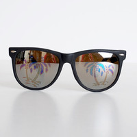 Vintage 80s Black Hologram Palm Tree Sunglasses Shades