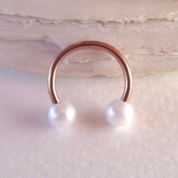 Horseshoe Circular Barbell Pearl Septum,Helix,Cartilage,Scaffold,Upper Ear,Lobe,Nose Ring