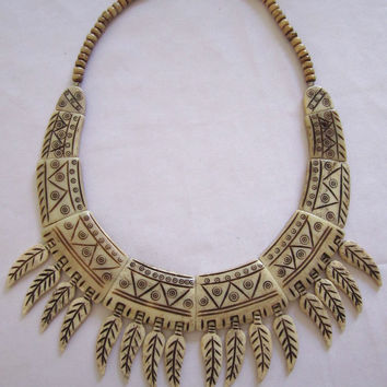Nepal Bone + Horn Necklace Spiked Bib