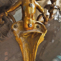 Gorgeous Large Antique French Spelter Metal Cherub Candle Sconce with Prisms