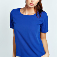 Carly Short Sleeve Sleeved Woven Shell Top