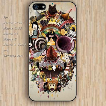 iPhone 5s 6 case skull case Dream catcher colorful collage skull phone case iphone case,ipod case,samsung galaxy case available plastic rubber case waterproof B437