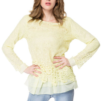 Solid Color Mesh Insert Layered Lace Blouse