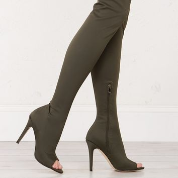 RESCUE ME STILETTO HEELED PEEP TOE THIGH HIGH BOOTS *PRE-ORDER ITEM * EXPECTED TO SHIP 2/10* - What's New