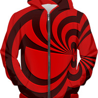 Trippy red spirals pattern all-over-print hoodie, geometric theme hooded sweatshirt