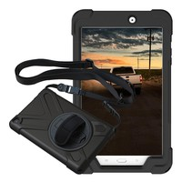 For Samsung Galaxy Tab E 8.0 SM-T377 T377P/V Pirate Tablet Case Cover Silicone+PC Kickstand Hard Case With Wrist +Shoulder Strap
