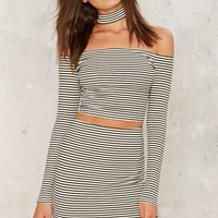 Close Quarters Striped Midi Skirt