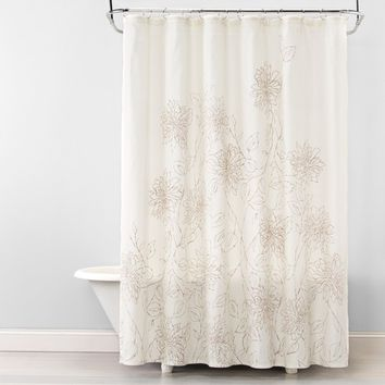 Linework Floral Shower Curtain Silver Mink - Opalhouse™