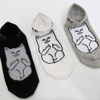 RIPNDIP Lord Nermal Cat Socks Men & Women Cotton Mens Funny Invisible Socks Harajuku Ankle Sokken 009w