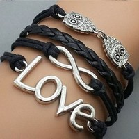 Plating Retro Silver Double Owl & Infinity Wish Love Bracelet Black Rope Braided Personalized Friendship Gift 2198r: Jewelry