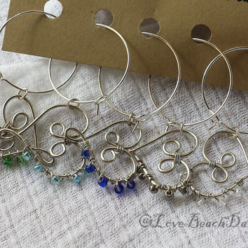 Custom Wine Charms Sets: 5 Beaded Heart Wine Charms, Wedding Favors, Gifts, Bridal Party